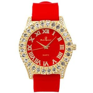 Men Gold ice out watch - Red/Gold
